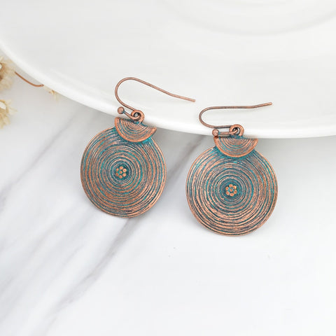 Round large Earrings Bohemian Bronze gold circle Vintage ethnic