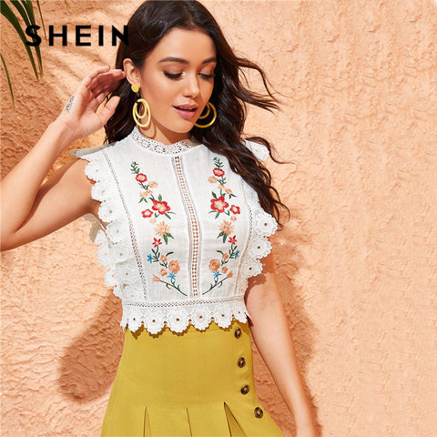 Mock Neck Guipure Lace Trim Embroidery White Blouse Tops and Blouses