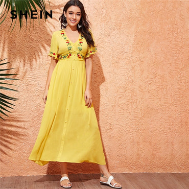 Tea Yellow Button Front Deep V Neck Short Boho A Line Women Dress