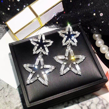 Luxury Big Star Drop Rhinestone Party Statement Earrings