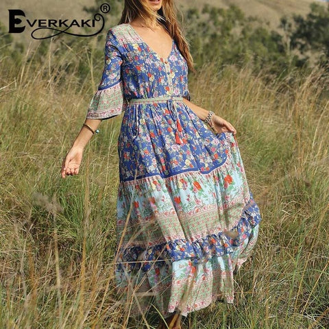 Boho Floral Print V Neck Sashes Half Sleeve Long Dresses