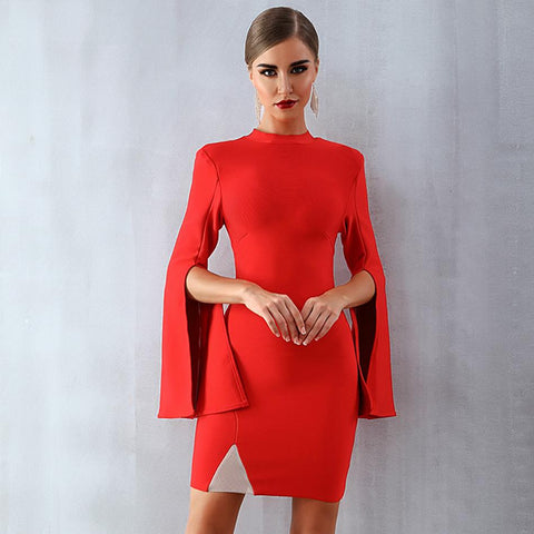 Red Flare Sleeve O-Neck Elegant Sexy Night Out Club Dress