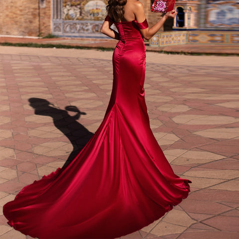 Off Shoulder Elegant High Split Female Backless Solid Color Maxi Dress