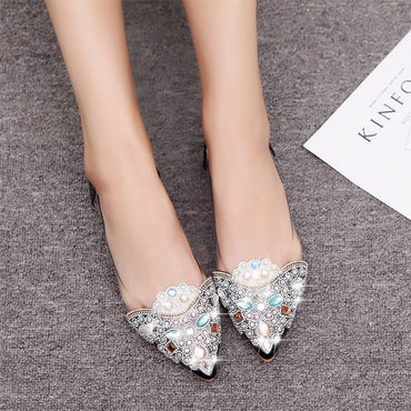 Ballet flat Color Rhinestone Pointy Ballerina Soft Sole Slip On Casual Shoes