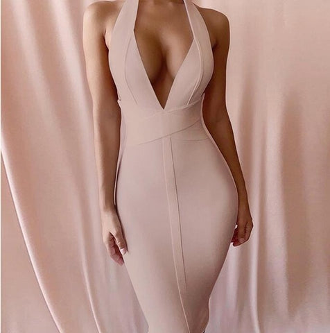 Bandage Party Sexy White Bodycon Club Midi Backless Dress