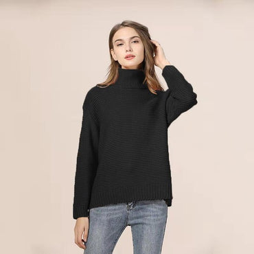 Casual Loose Turtleneck Oversize Solid Knitted Sweaters