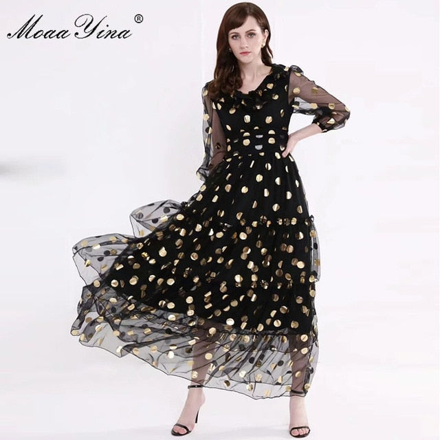 Designer Runway V-neck Dot Mesh Black Elegant Party Dresses