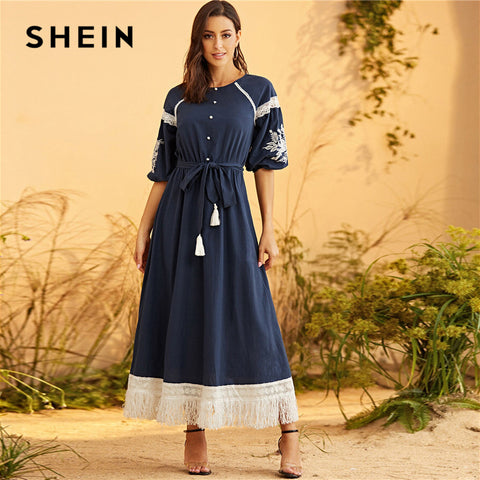 Navy Lace Hem Belted Maxi Lantern Sleeve Fit and Flare Boho Dresses