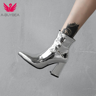 New Sliver Gold Ankle Boots Pointed Toe Chunky High Heel Boots