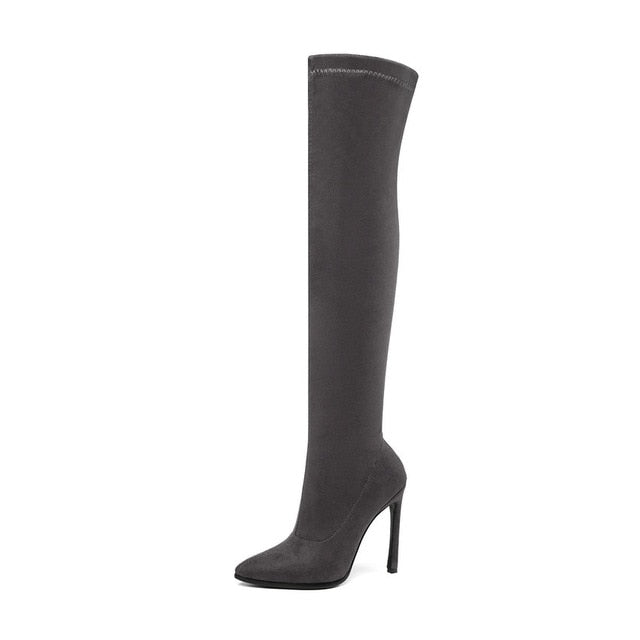 Over The Knee Boots Stretch Fabrics High Heel