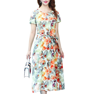 short sleeve elegant vintage print floral casual vestidos long party dress
