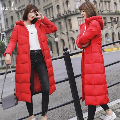 Coat Cotton Padded Long Hooded Thicken Female Parkas Plus Size Jackets
