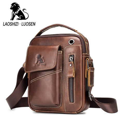 Messenger Vintage cow leather Small Shoulder bag for male Crossbody bag