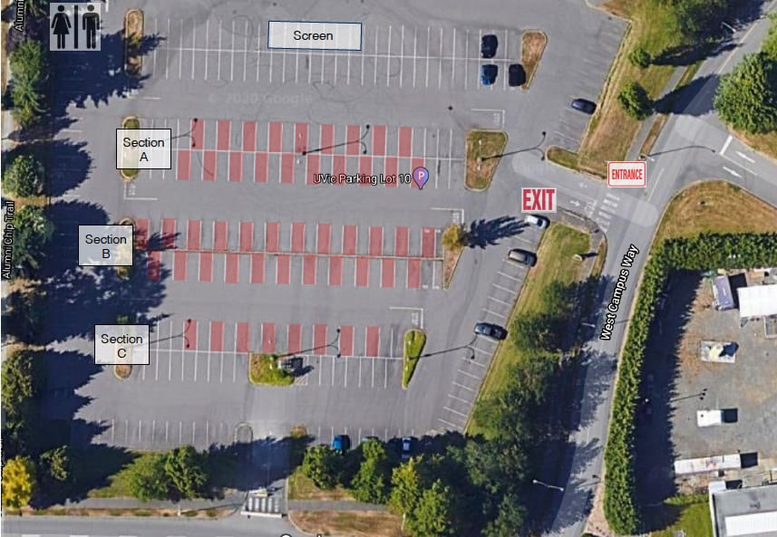 Parking Lot Layout for Legacy Drive In Cinema - Movie Theatre Victoria BC