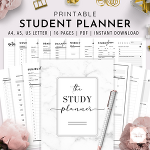Student Planner Printable | A4, A5, US Letter Bundle | Black & White Version