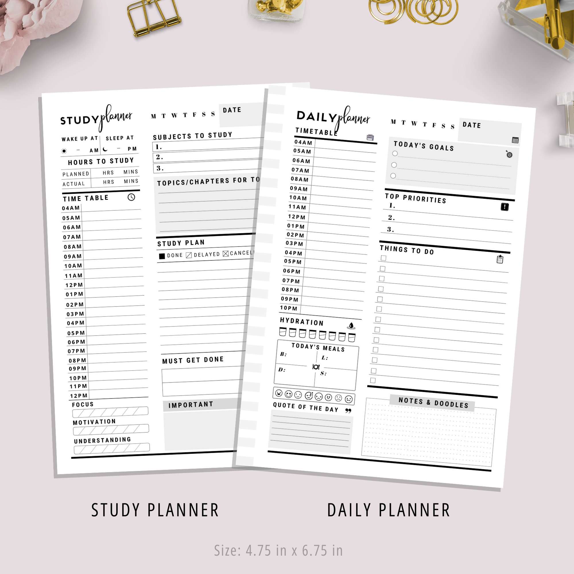 Printable Student Planner | Black and White Version | PDF Digital Download File