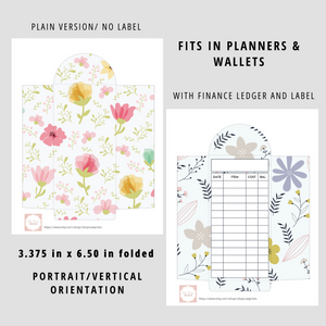 Printable Cash Envelopes Set of 6, Floral Design, Budget Envelopes Printable, Instant Download