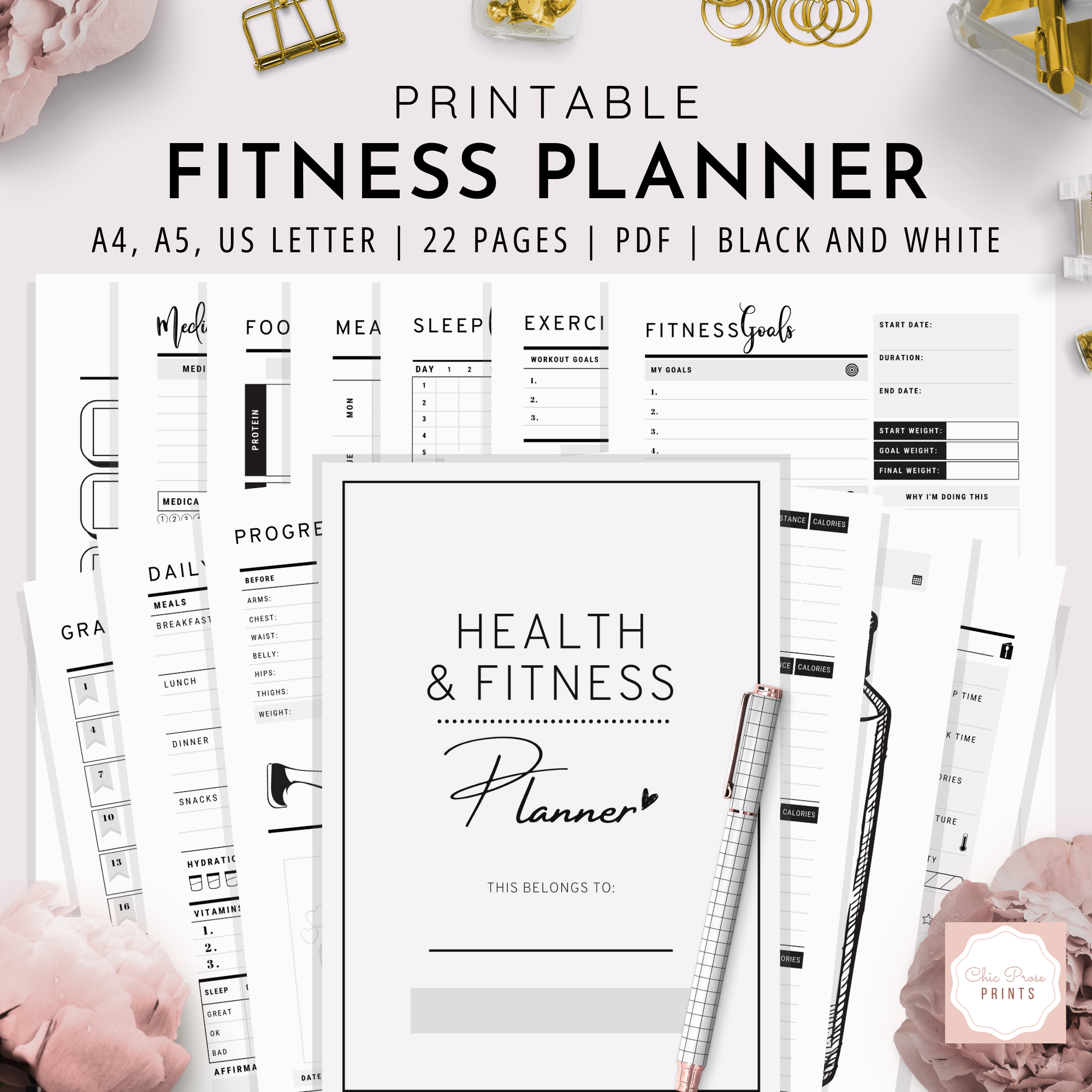 Health and Fitness Planner | Black and White Version