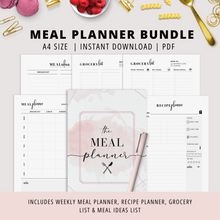 Load image into Gallery viewer, A4, Meal Planner Bundle | Instant Download | PDF