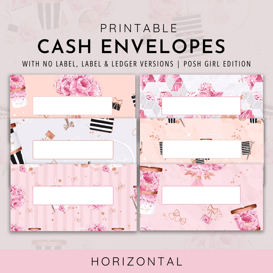 Printable Cash Envelopes Set of 6, Posh Girl Edition, Budget Envelopes, Money Envelopes, Instant Download