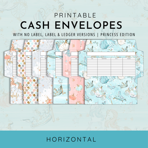 Printable Cash Envelopes Set of 6, Princess Edition, Budget Envelopes, Money Envelopes, Instant Download