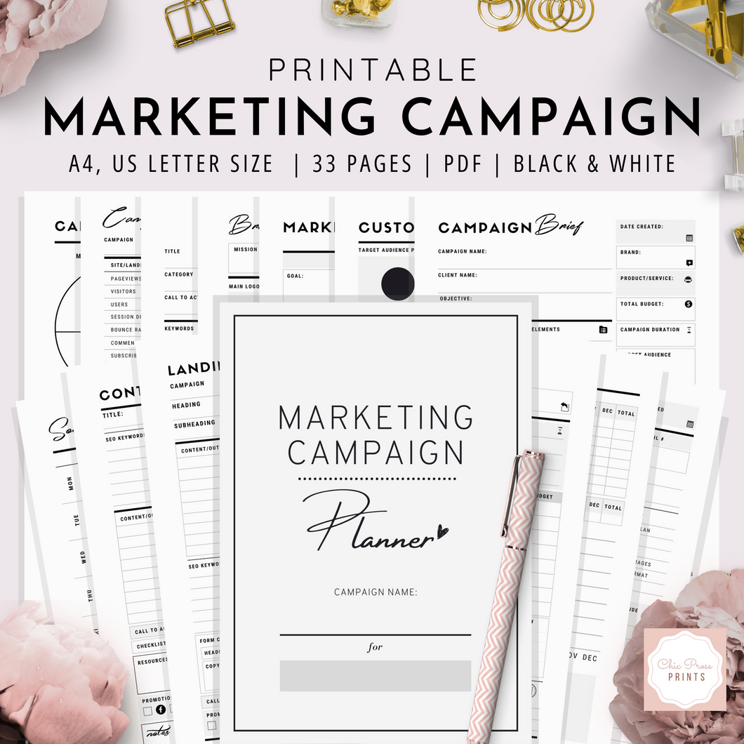 Marketing Campaign Planner, A4, US Letter | Black & White Version