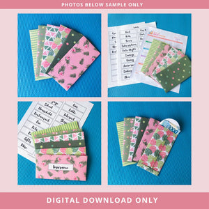 Printable Cash Envelopes Set of 6 - Tropical Guava Pack - Budget Envelopes