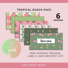 Load image into Gallery viewer, Printable Cash Envelopes Set of 6 - Tropical Guava Pack - Budget Envelopes