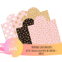 Load image into Gallery viewer, Printable Cash Envelopes Set of 5 - Blush and Gold Swirls Pack - Budget Envelopes