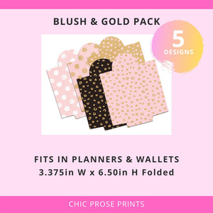 Printable Cash Envelopes Set of 5 - Blush and Gold Swirls Pack - Budget Envelopes
