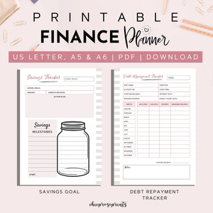 Finance Planner, Printable A5, A6 & US Letter size Bundle | Budgeting Planner