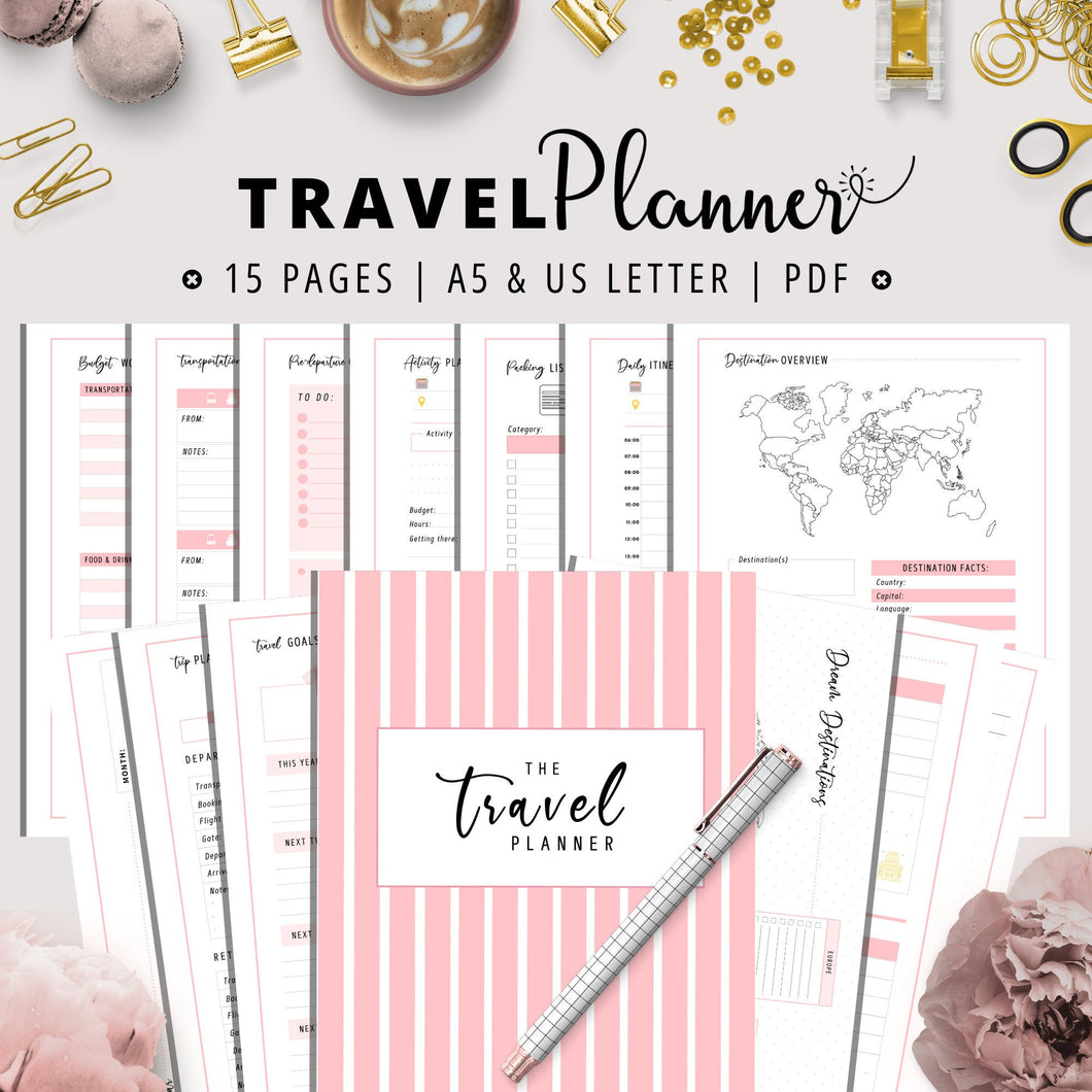 Travel Planner A5 & US LETTER Bundle | Pink Version