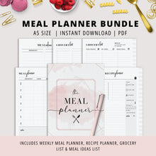 Load image into Gallery viewer, A5, Meal Planner Bundle, Weekly Meal Planner, Recipe Planner, Grocery List, Meal Ideas | Instant Download | PDF