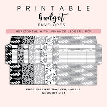 Load image into Gallery viewer, Cash Envelopes Set of 5, Black and white floral Patterns, Budget Envelopes Printable, Instant Download