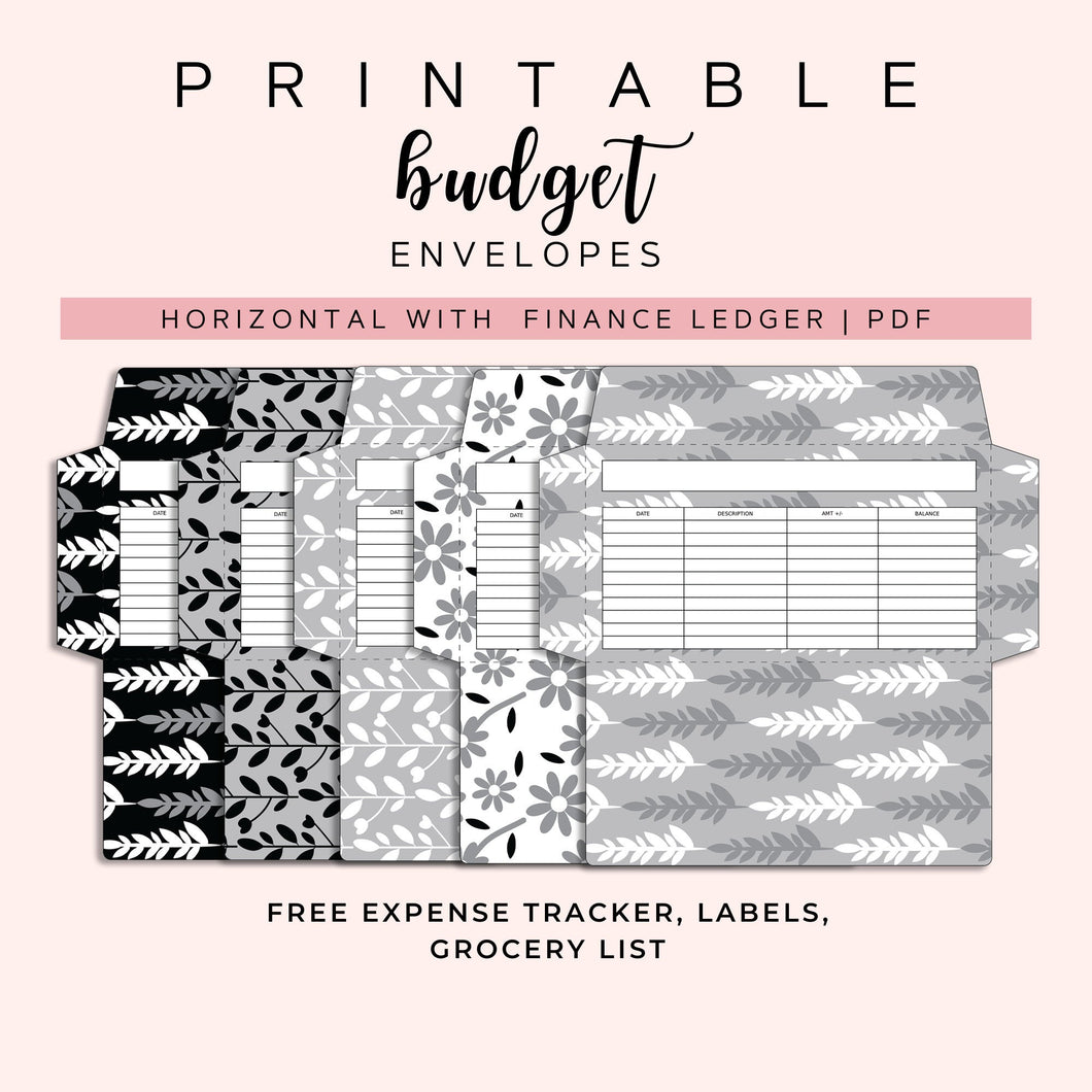 Cash Envelopes Set of 5, Black and white floral Patterns, Budget Envelopes Printable, Instant Download