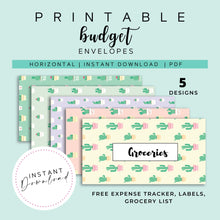 Load image into Gallery viewer, Cash Envelopes Set of 5, Cactus Patterns, Budget Envelopes Printable, Instant Download