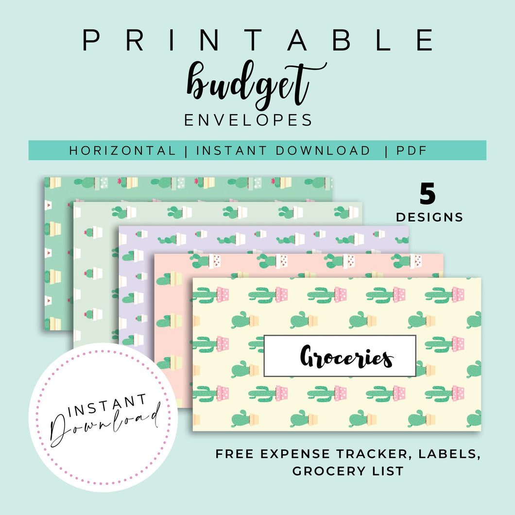 Cash Envelopes Set of 5, Cactus Patterns, Budget Envelopes Printable, Instant Download