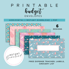 Load image into Gallery viewer, Cash Envelopes with Blank Label Set of 6, Flamingo Summer Patterns, Budget Envelopes Printable, Instant Download