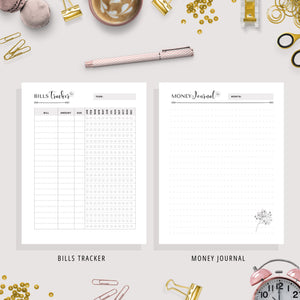 Finance Planner, A5, A6 & US Letter Size Bundle | Black & White Version