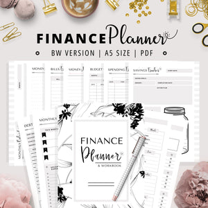 A5, Budget Planner | Black & White Version