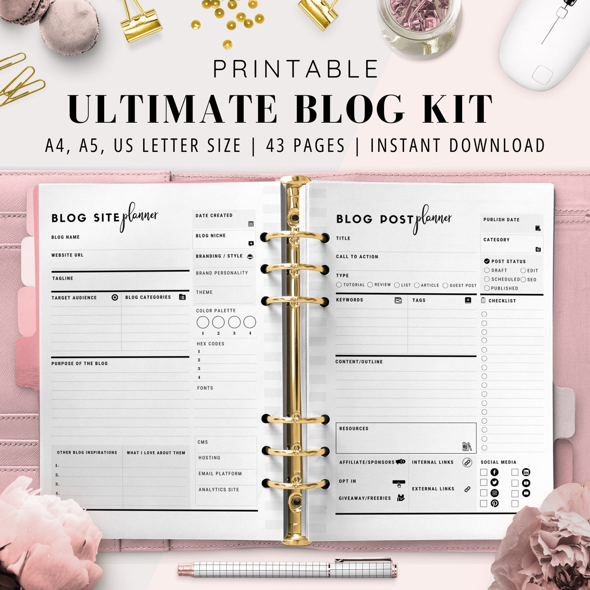 Ultimate Blog Planner Bundle | Black & White Version