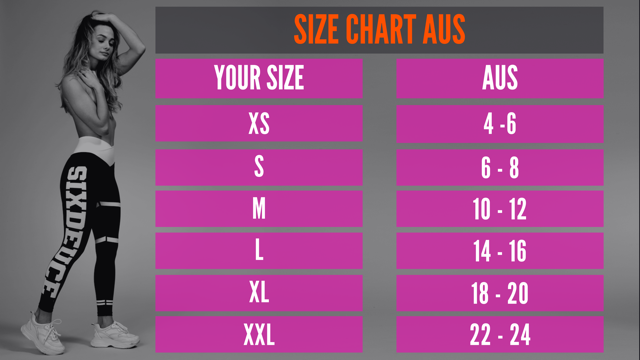 Size chart conversion for AUS to EU to US . Australian Size Chart Guide conversions best leggings 2020