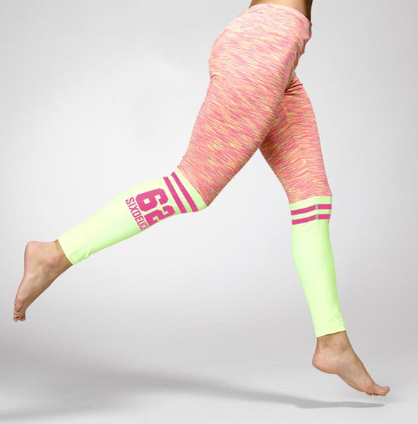 Six Deuce The Runner Leggings, Pink/Yellow