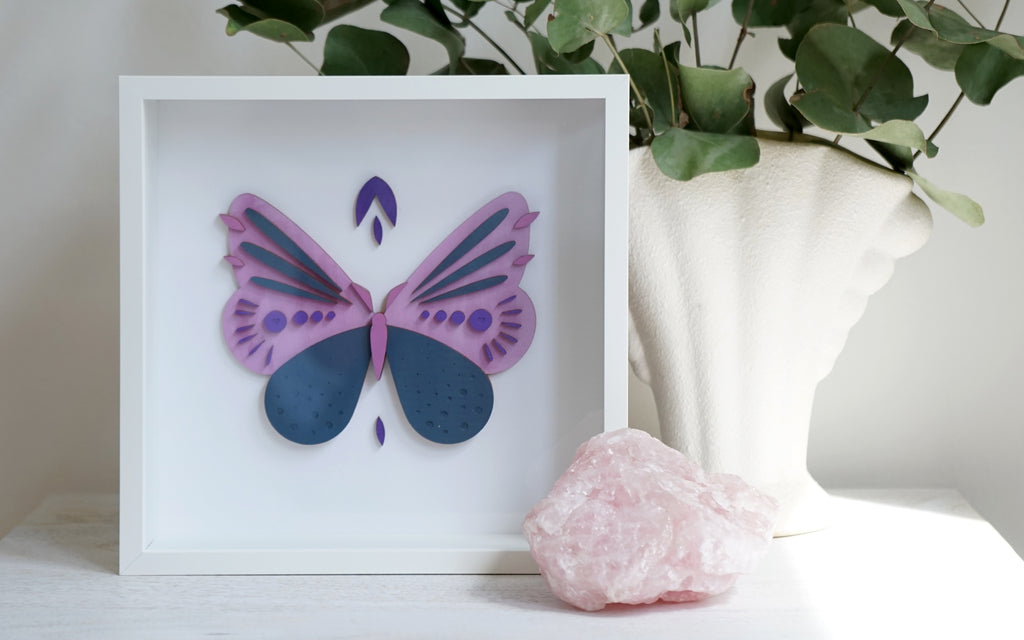 Violet Butterfly Woodcut Art