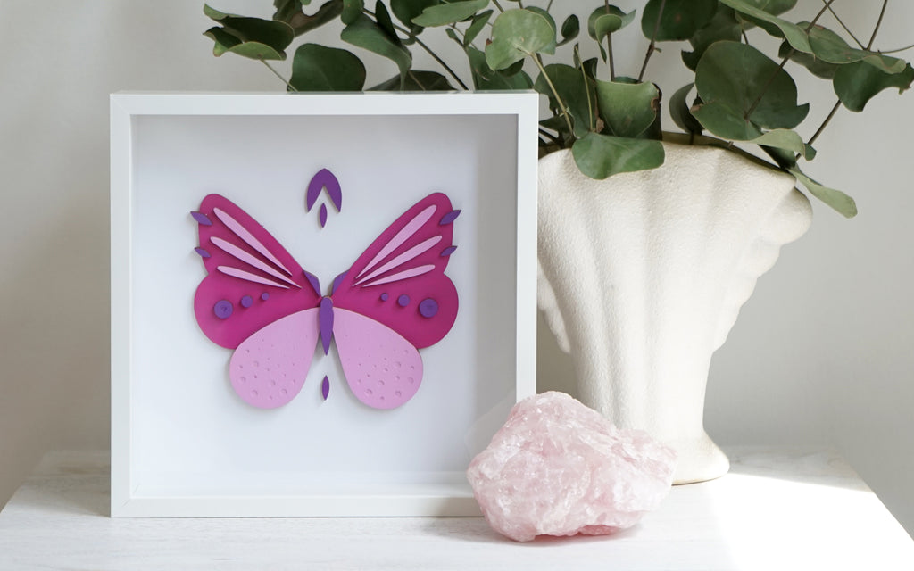 Candy Butterfly Woodcut Art