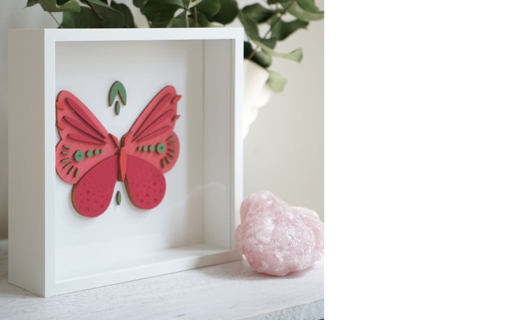 Tropical Butterfly Woodcut Art