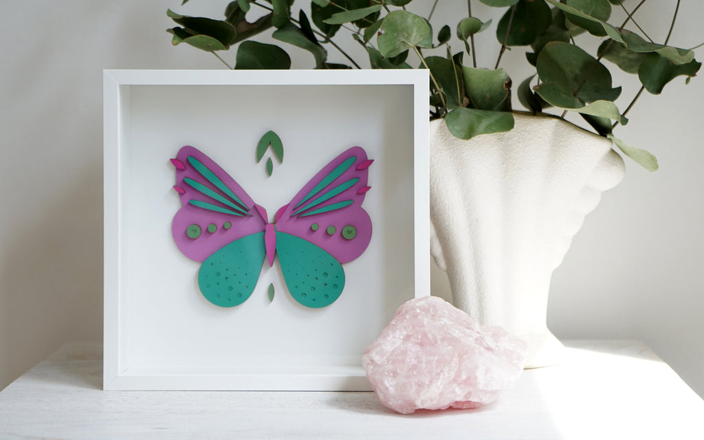 Aquamarine Butterfly Woodcut Art