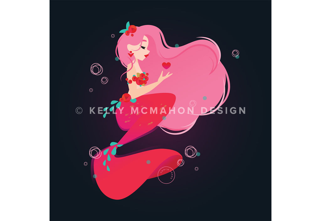 Love Mermaid Art Print