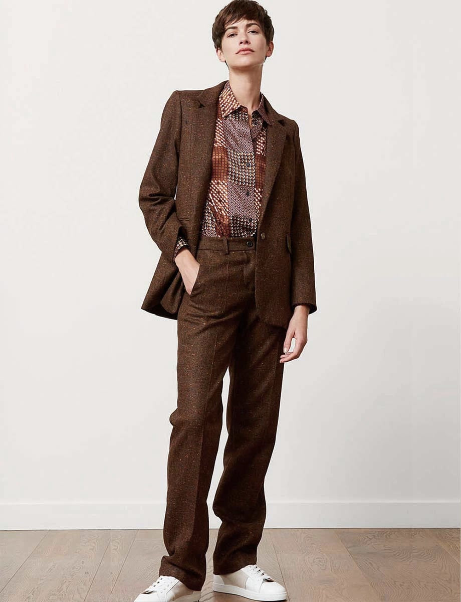 Pantalon Francisco tweed marron