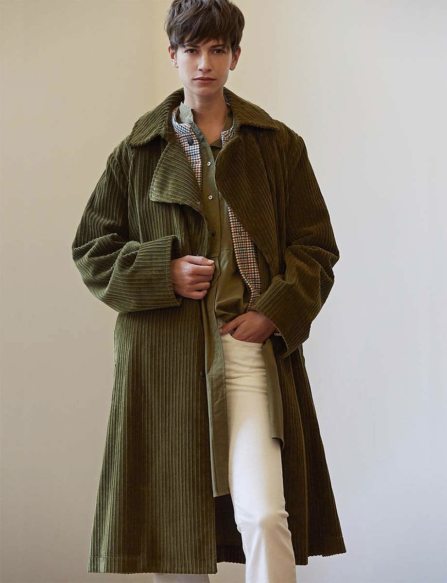 Manteau Mortimer velours khaki